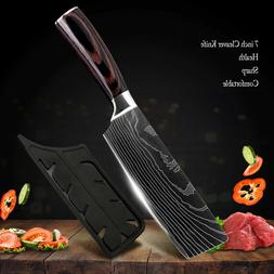 7'' Kitchen Cleaver Knife Stainless Steel Japanese Damascus