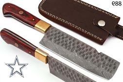 HAND FORGED DAMASCUS MEAT CLEAVER CHEF KNIFE & BRASS BOLSTER