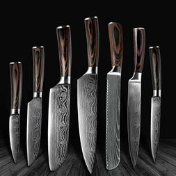3/5/7Pc Japanese Damascus Chef Knife Set Kitchen Stainless S