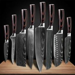 Kitchen Chef's Knife Set Damascus Pattern Stainless Steel Kn