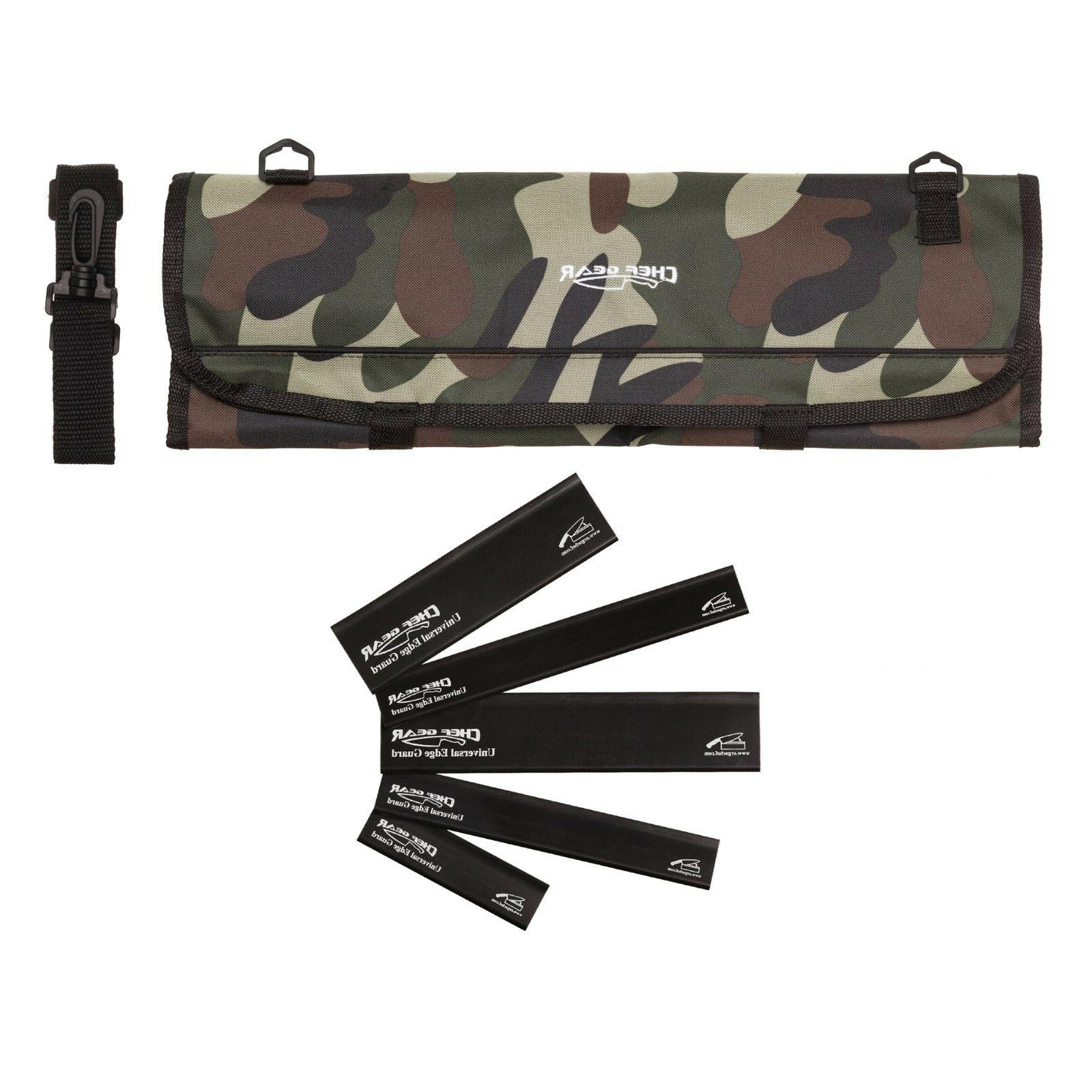 9 Pocket Chef Knife case roll bag Camouflage Camo w/ 5pc. Bl