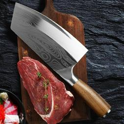 Stainless Steel Asian Chef Knife Kitchen Butcher Damascus Cl