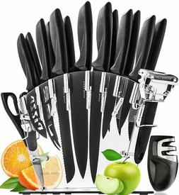 HomeHero 13 Stainless Steel Chef Kitchen Knife Set With Bloc